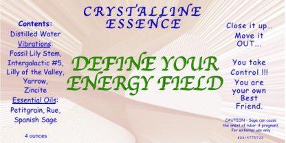 DEFINE YOUR ENERGY FIELD Vibrational Spray Label
