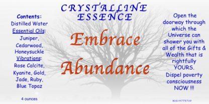EMBRACE ABUNDANCE Vibrational Spray Label