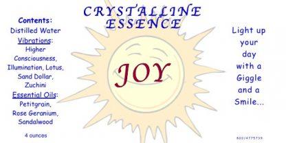 JOY Vibrational Spray Label