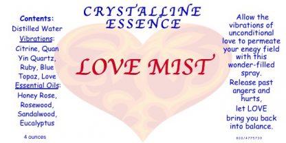 LOVE MIST Vibrational Spray Label
