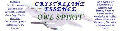 Owl Spirit Spray Label